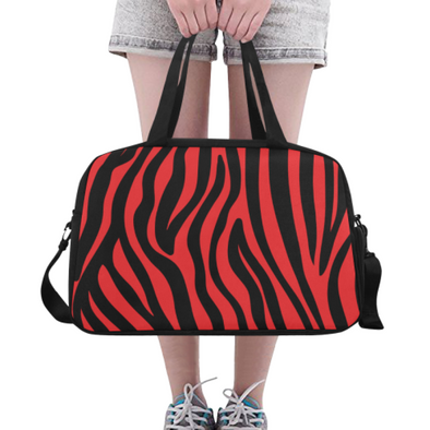 Fitness and Travel Bag - Custom Zebra Pattern - Red Zebra - Accessories bags zebras