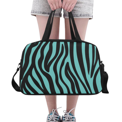 Fitness and Travel Bag - Custom Zebra Pattern - Turquoise Zebra - Accessories bags zebras