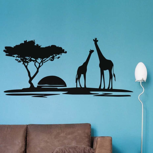 Giraffes Tree & Sunset Wall Sticker - Wall Art giraffes trees wall stickers