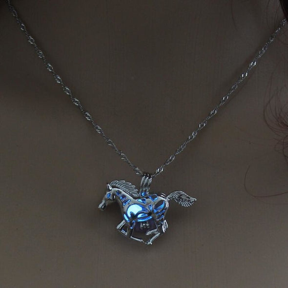 Glow In The Dark Horse Pendant Necklace - 3 Colors - Blue - Jewelry Horses Necklaces