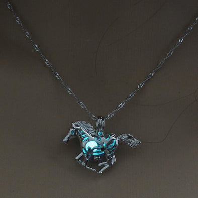 Glow In The Dark Horse Pendant Necklace - 3 Colors - Blue/green - Jewelry Horses Necklaces
