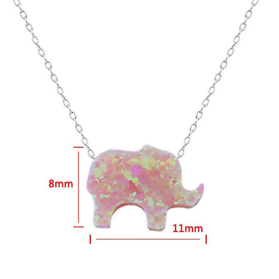 Hand-Carved Fire Pink Opal Elephant Necklace - Jewelry elephants necklaces opal