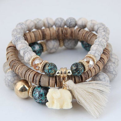 Handmade 3-Piece Bohemian Elephant Tassel & Bead Bracelet - 4 Styles - Light Gray - Jewelry bohemian bracelets elephants yoga gear