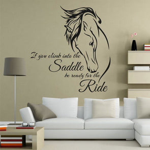 Horse Head Wall Sticker - If You Climb Into the Saddle Be Ready for the Ride - black - Wall Art horses wall stickers