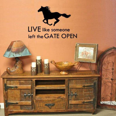 Horse Running - Live Like Someone Left The Gate Open - Wall Sticker - Wall Art Horses Wall Stickers