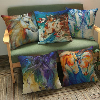 Horse Watercolor Pillow Cover - Cotton/Linen - Housewares horses housewares pillows