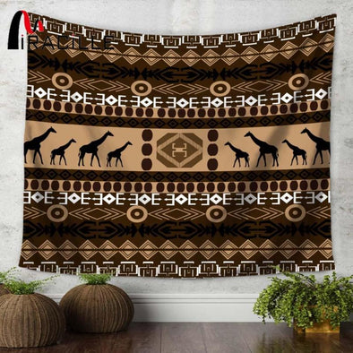 Indian Geometric Giraffe Wall Hanging Yoga & Meditation Tapestry - Wall Art elephants giraffes indian tapestries yoga gear