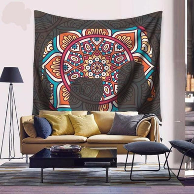 Indian Mandela Elephant Wall Hanging Tapestry - 59x51in / 150X130CM - Wall Art elephants indian tapestries yoga gear