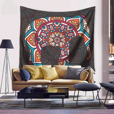 Indian Mandela Elephant Wall Hanging Tapestry - Wall Art elephants indian tapestries yoga gear