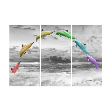 Jumping Dolphins - Canvas Wall Art - Rainbow Dolphin - Wall Art Canvas Prints Dolphins Wall Art
