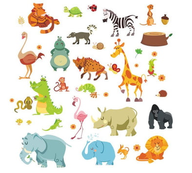 Jungle Animals W/elephant Giraffe Tiger Rhino Turtle - Kids Room Wall Sticker - Wall Art Big Cats Elephants Giraffes Tigers Wall Stickers