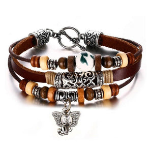 Leather Wood Stone & Metal Elephant Pendant Bracelet - Jewelry Bracelets Elephants