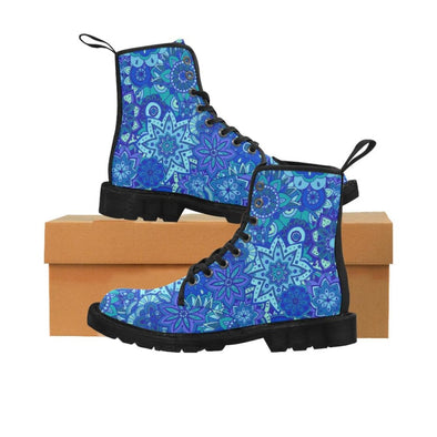 Limited Edition Womens Canvas Ankle Boots - Hand Drawn Mini-Mandalas Patterns - Blue Mini-Mandala / US6.5 - Footwear ankle boots boots