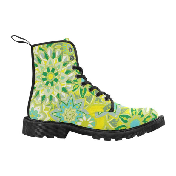 Limited Edition Womens Canvas Ankle Boots - Hand Drawn Mini-Mandalas Patterns - Footwear ankle boots boots mandalas