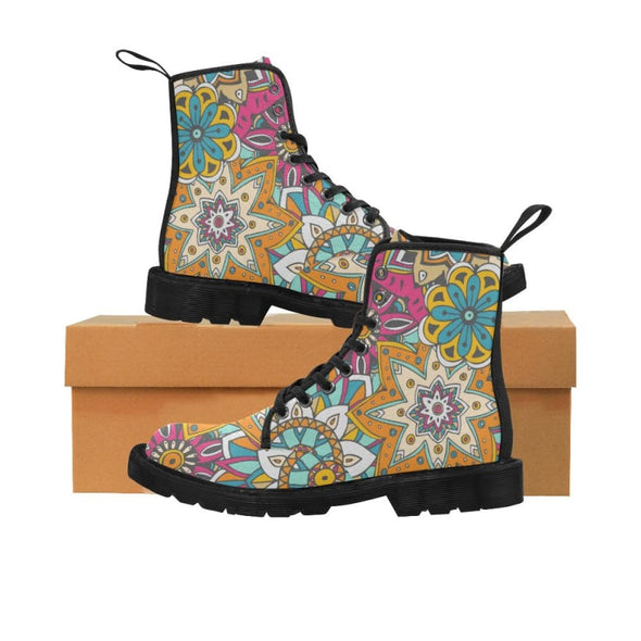 Limited Edition Womens Canvas Ankle Boots - Hand Drawn Mini-Mandalas Patterns - Orange & Purple Mini-Mandala / US6.5 - Footwear ankle boots