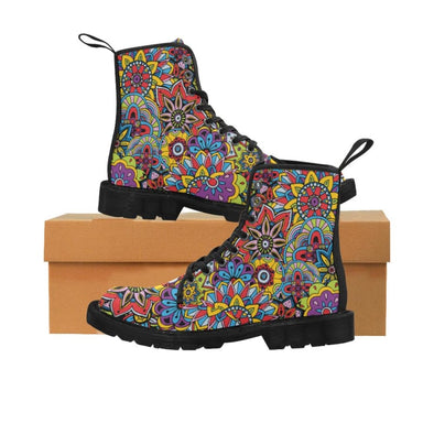 Limited Edition Womens Canvas Ankle Boots - Hand Drawn Mini-Mandalas Patterns - Rainbow Mini-Mandala / US6.5 - Footwear ankle boots boots