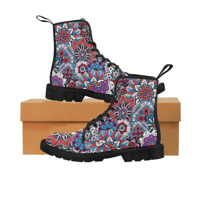 Limited Edition Womens Canvas Ankle Boots - Hand Drawn Mini-Mandalas Patterns - Red & Blue Mini-Mandala / US6.5 - Footwear ankle boots boots