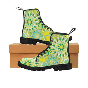 Limited Edition Womens Canvas Ankle Boots - Hand Drawn Mini-Mandalas Patterns - Yellow & Green Mini-Mandala / US6.5 - Footwear ankle boots