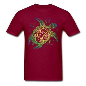 Mens Sea Turtle Short Sleeve T-Shirt - Red / S - Clothing bohemian mens t-shirts turtles