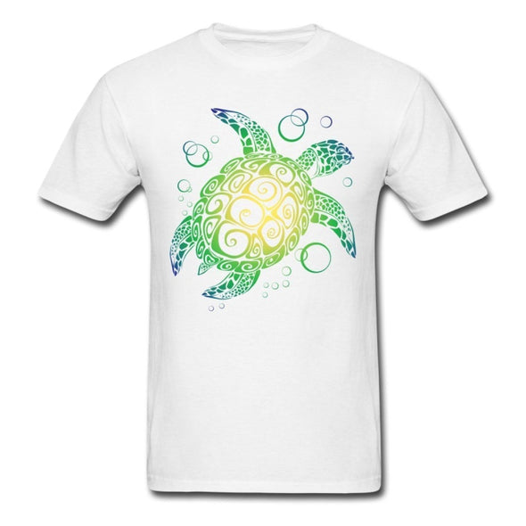 Mens Sea Turtle Short Sleeve T-Shirt - White / S - Clothing bohemian mens t-shirts turtles