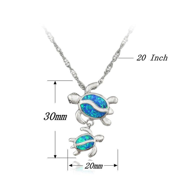 Multi-Color Fire Opal Turtle With Baby Pendant & Necklace - Jewelry Necklaces Opal Turtles