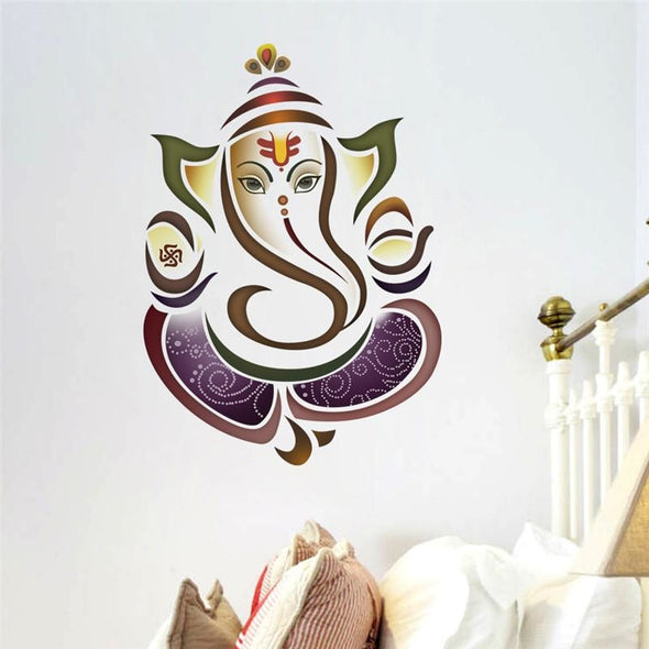 Multi-Color Ganesh Elephant Yoga Studio Wall Sticker - Wall Art elephants indian wall stickers yoga gear