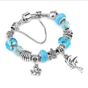 Ocean Dolphin Bracelet - Blue Beads / 6.7in / 17cm - Jewelry