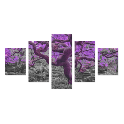 Old Wise Tree in the Forest - Canvas Wall Art - Old Wise Tree - Purple Canvas Wall Art Z (5 pieces) - Wall Art canvas prints trees
