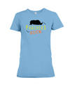 Poachers Suck Statement (Rhinos) T-Shirt - Design 1 - Ocean Blue / S - Clothing rhinos womens t-shirts