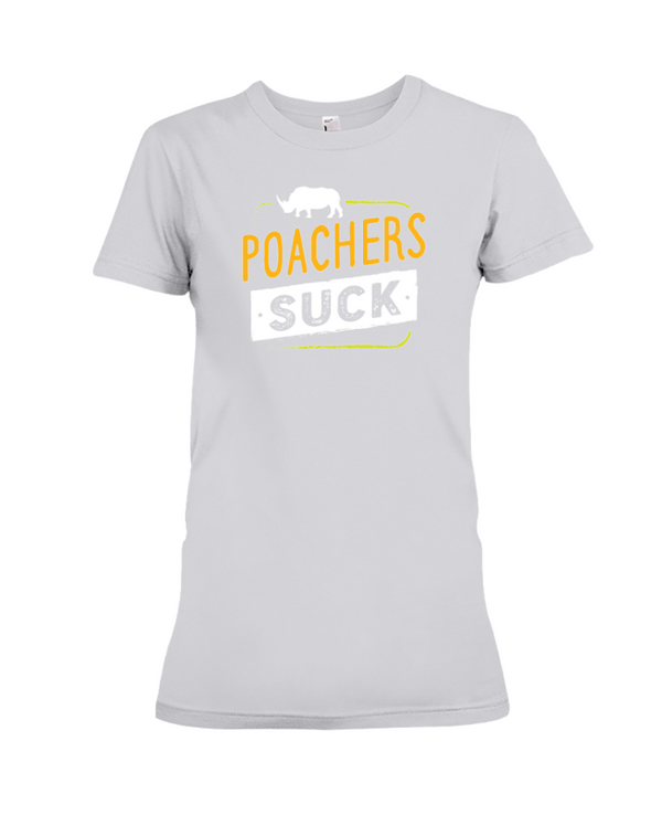 Poachers Suck Statement (Rhinos) T-Shirt - Design 2 - Athletic Heather / S - Clothing rhinos womens t-shirts