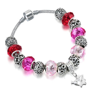 Red Murano Glass Beads & Hanging Elephant Charm Bracelet - Jewelry bracelets elephants italian