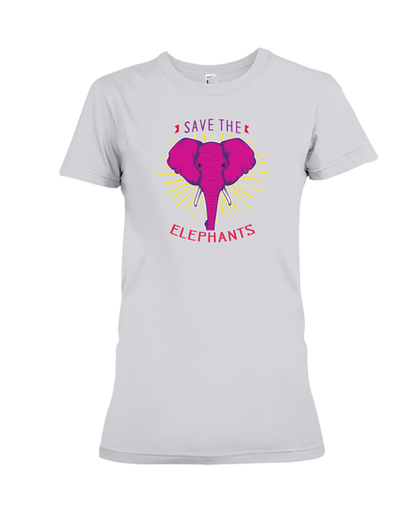 Save the Elephants Statement T-Shirt - Design 2 - Athletic Heather / S - Clothing elephants womens t-shirts
