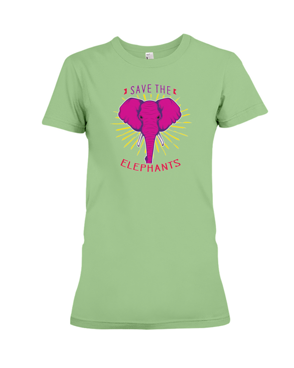 Save the Elephants Statement T-Shirt - Design 2 - Heather Green / S - Clothing elephants womens t-shirts