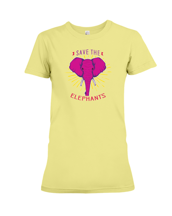 Save the Elephants Statement T-Shirt - Design 2 - Yellow / S - Clothing elephants womens t-shirts