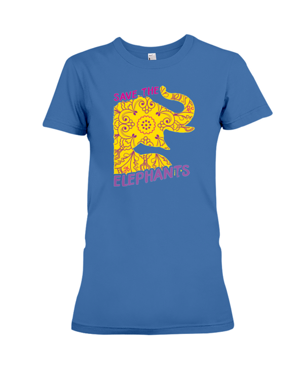 Save the Elephants Statement T-Shirt - Design 3 - Hthr True Royal / S - Clothing elephants womens t-shirts
