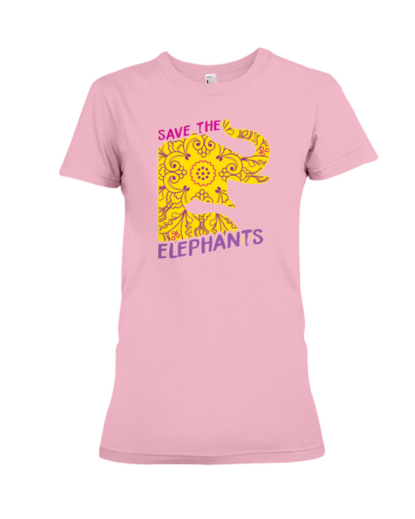 Save the Elephants Statement T-Shirt - Design 3 - Pink / S - Clothing elephants womens t-shirts