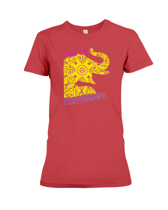 Save the Elephants Statement T-Shirt - Design 3 - Red / S - Clothing elephants womens t-shirts