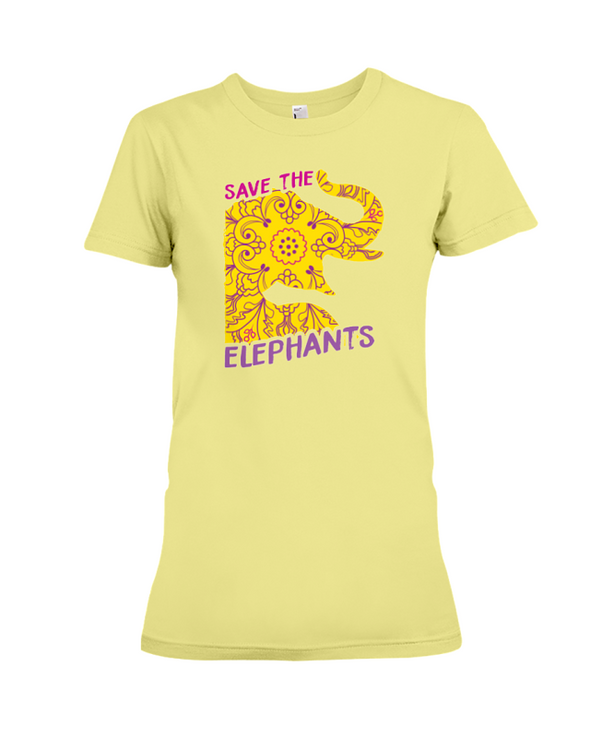 Save the Elephants Statement T-Shirt - Design 3 - Yellow / S - Clothing elephants womens t-shirts