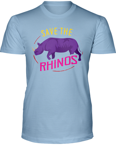 Save The Rhinos T-Shirt - Design 1 - Baby Blue / S - Clothing rhinos womens t-shirts