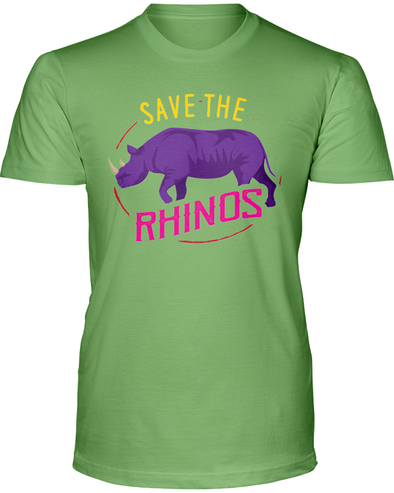 Save The Rhinos T-Shirt - Design 1 - Heather Green / S - Clothing rhinos womens t-shirts