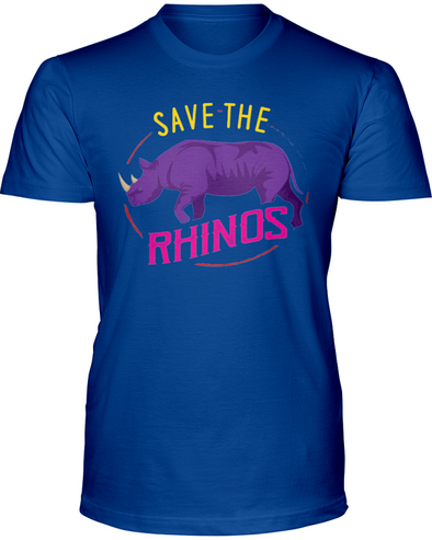 Save The Rhinos T-Shirt - Design 1 - Hthr True Royal / S - Clothing rhinos womens t-shirts