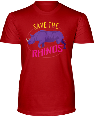 Save The Rhinos T-Shirt - Design 1 - Red / S - Clothing rhinos womens t-shirts
