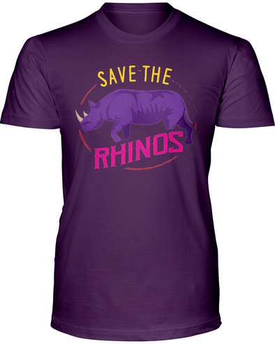 Save The Rhinos T-Shirt - Design 1 - Team Purple / S - Clothing rhinos womens t-shirts
