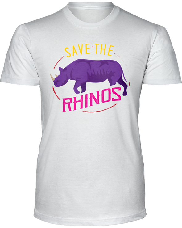 Save The Rhinos T-Shirt - Design 1 - White / S - Clothing rhinos womens t-shirts