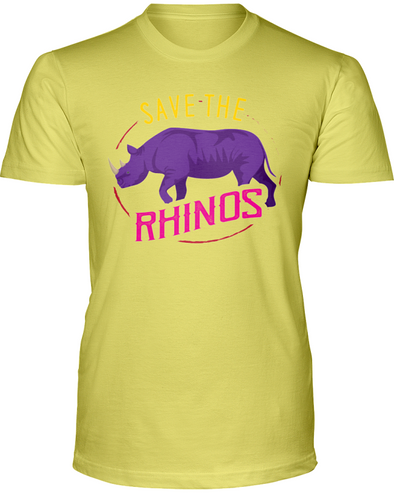 Save The Rhinos T-Shirt - Design 1 - Yellow / S - Clothing rhinos womens t-shirts