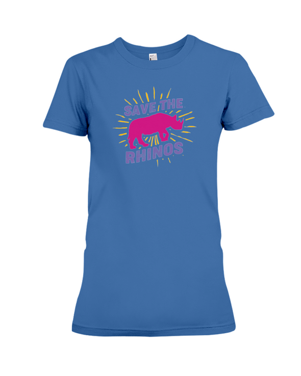 Save The Rhinos T-Shirt - Design 20 - Hthr True Royal / S - Clothing rhinos womens t-shirts