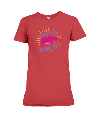 Save The Rhinos T-Shirt - Design 20 - Red / S - Clothing rhinos womens t-shirts