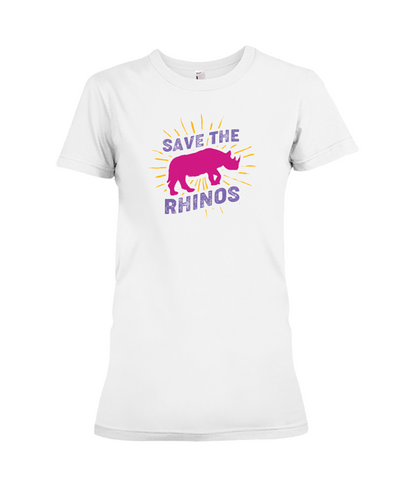 Save The Rhinos T-Shirt - Design 20 - White / S - Clothing rhinos womens t-shirts