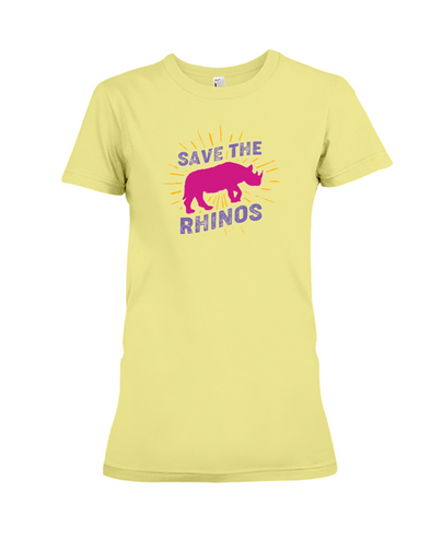 Save The Rhinos T-Shirt - Design 20 - Yellow / S - Clothing rhinos womens t-shirts