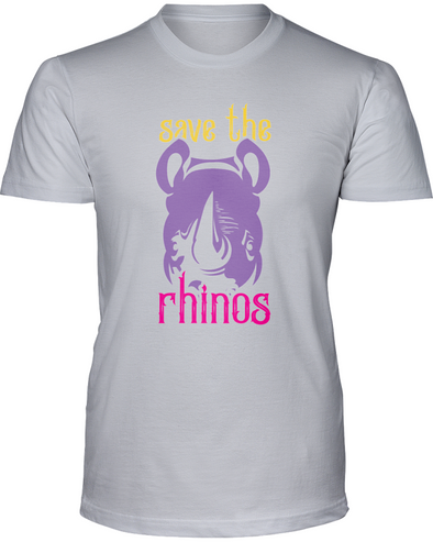 Save The Rhinos T-Shirt - Design 3 - Athletic Heather / S - Clothing rhinos womens t-shirts